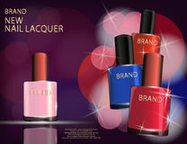 Colorful nail lacquer template, glossy bottles on the sparkling Stock Images