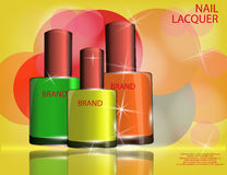 Colorful nail lacquer template, glossy bottles on the sparkling Royalty Free Stock Image