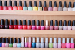 Colorful nail polish bottles Royalty Free Stock Photos
