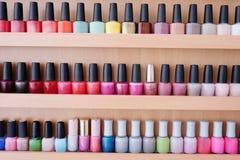 Colorful nail polish bottles Royalty Free Stock Photos