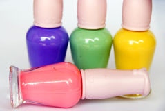 Colorful nail polish. The colorful nail polish closeup royalty free stock images