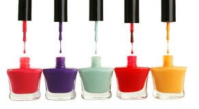 Colorful nail polish isolated on a white Stock Image