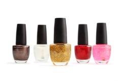 Colorful nail polish set on white background isolated Royalty Free Stock Photography