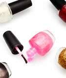 Colorful nail polish set on white background isolated. For make up artist Royalty Free Stock Photography