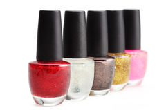 Colorful nail polish set on white background isolated Stock Photo