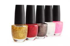 Colorful nail polish set on white background isolated Royalty Free Stock Photography