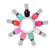 Colorful nail polish on white background Stock Image