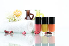 Colorful nail polishes and Dried Flowers Royalty Free Stock Photo