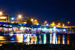 Colorful of Nan River . Nan river in Thailand ,Songkran Festival at night Royalty Free Stock Photography