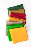 Colorful napkins  on the white background  vertical Stock Photo