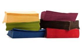 Colorful napkins on white Royalty Free Stock Photos