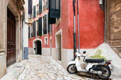 Colorful narrow street in old mediterranean town Royalty Free Stock Image