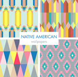 Colorful native american pattern set Royalty Free Stock Photos