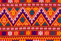 Colorful of native thai style silk and textiles pattern. Beautif Stock Photo