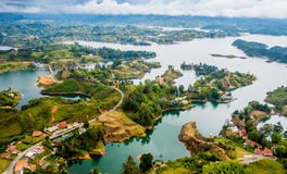 Colorful natural aerial view of Guatape in Stock Image