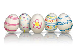 5 Colorful Natural Easter Eggs Frohe Ostern. 5 colored natural easter eggs on the mirror royalty free illustration