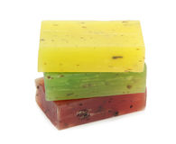 Colorful natural herbal soaps isolated on white background Royalty Free Stock Image