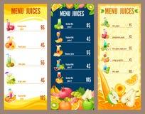 Colorful Natural Juices Menu Template Stock Photo