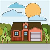 Colorful natural landscape with country house with attic and garage on sunny day. Vector illustration Royalty Free Stock Photo