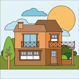 Colorful natural landscape with country house of two floors and balcony on sunny day. Vector illustration Stock Image