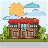 Colorful natural landscape with country house of two floors with railing on sunny day. Vector illustration Stock Photos
