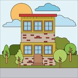 Colorful natural landscape with country house of two floors on sunny day. Vector illustration Royalty Free Stock Image