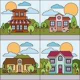 Colorful natural landscape with graphic set of rural village. Vector illustration Stock Images