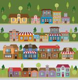 Colorful natural landscape with set of scenes in strips of country village. Vector illustration Royalty Free Stock Images