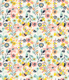 Colorful natural seamless background with flowers and birds Stock Photos