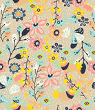 Colorful natural seamless background with flowers and birds Royalty Free Stock Photos