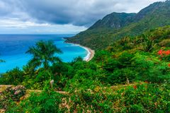 Colorful natural wild landscape with rocky mountains overgrown dense green jungle tree, palm and clear azure water of sea ocean. Dominican Republic royalty free stock photo