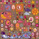 Colorful nature cartoon pattern Stock Photos