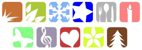 Colorful Nature icons  Stock Photos