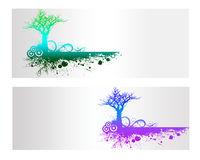Colorful Nature Vector Banner. Colorful Nature and Tree Vector Banner Royalty Free Stock Photo