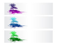 Colorful Nature Vector Banner. Colorful Nature and Tree Vector Banner Royalty Free Stock Images