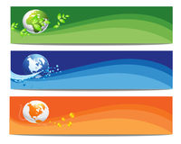 Colorful Nature and World Banner. Colorful Nature,Wave  and World Banner and Background Royalty Free Stock Photos