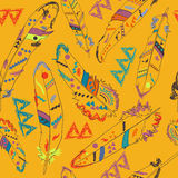 Colorful navajo pattern with feathers Royalty Free Stock Photography
