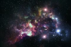 Colorful nebula, space and universe royalty free illustration
