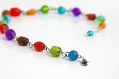 Colorful necklace. Beaded necklace stock photo