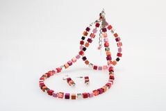 Colorful necklace, bracelet and earrings Royalty Free Stock Photo