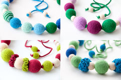 Colorful Necklace Made of Natural Materials. Colorful Nursing Necklace Made of Wooden Beads and Cotton Threads on White Background Royalty Free Stock Photography