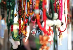 Colorful necklaces. A colorful display of necklaces Royalty Free Stock Photography