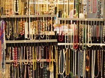Colorful necklaces. In a shopping market Royalty Free Stock Images