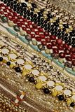 Colorful Necklaces. Close up of colorful vintage necklaces showing detail, shapes and texture royalty free stock image