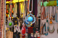 Colorful Necklaces. Hanging in front of an accessory/jewelery shop Royalty Free Stock Photos