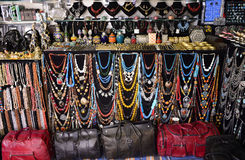 Colorful Leather Bags and Necklaces, Arabic Handicraft Accessories, Sidi Bou Said Market Royalty Free Stock Images