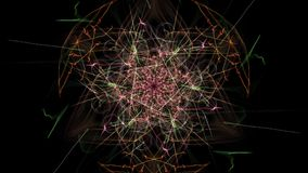 Colorful neon abstract symmetrical lights. Silk symmetry series vector illustration