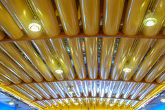 Colorful neon ceiling lights inside an old diner Stock Photo