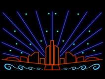Colorful neon city lights night scene stars laser Stock Images