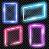 Colorful neon frames. Set of colorful translucent neon frames on transparent background. Transparency only in vector format royalty free illustration